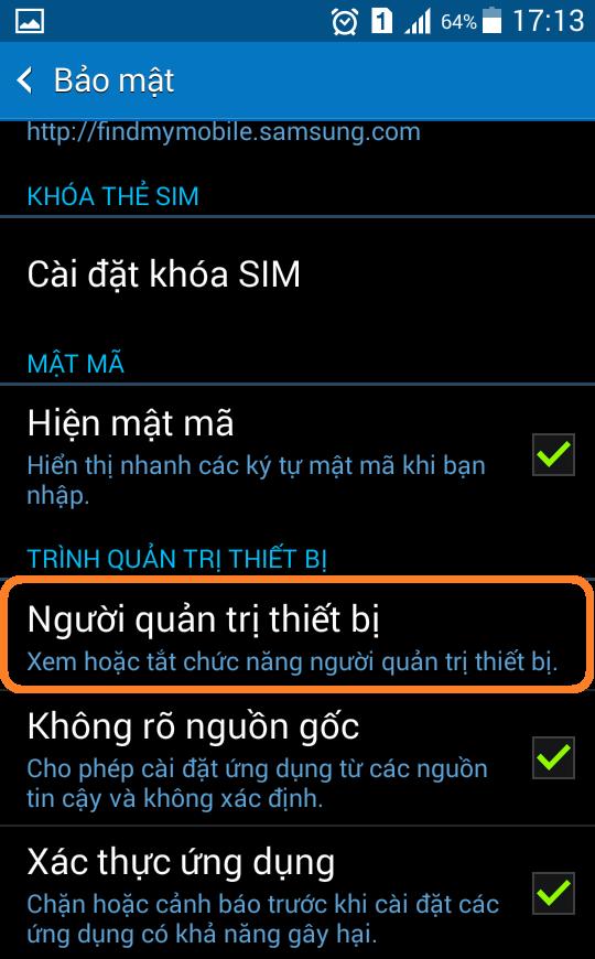 Sử dụng tính năng chống trộm Android