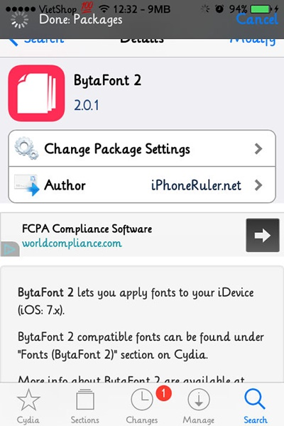 thay doi font chu iphone