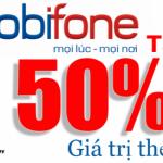 Mobifone khuyến mãi 50% giá trị thẻ nạp ngày 6/5/2015