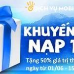 Khuyến mãi Viettel 50% thẻ nạp mỗi ngày từ 1/6 đến 15/6/2015