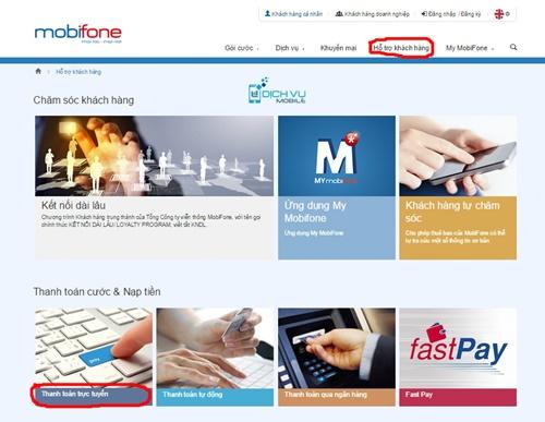 Huong dan nap tien va thanh toan online tren Mobifone.vn 1