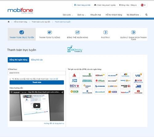 Huong dan nap tien va thanh toan online tren Mobifone.vn 2