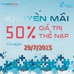 Khuyến mãi Mobifone tặng 50% khi nạp tiền online ngày 29/7/2015