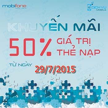 Khuyen mai Mobifone tra sau tang 50 ngay 29-7-2015