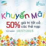 Khuyến mãi Viettel tặng 50% thẻ nạp ngày 18/7/2015