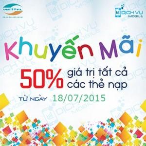 Khuyen mai viettel tang 50 the nap ngay 18-7-2015