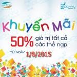 Khuyến mãi Viettel tặng 50% thẻ nạp ngày 1/8/2015