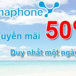 Vinaphone khuyến mãi tặng 50% thẻ nạp ngày vàng 8/7/2015