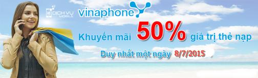 Vinaphone khuyen mai 50 the nap ngay vang 8-7-2015