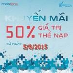 Khuyến mãi Mobifone tặng 50% thẻ nạp ngày 5/8/2015