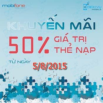 Khuyen mai Mobifone tang 50 ngay 5-8-2015
