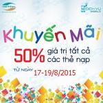 Khuyến mãi Viettel tặng 100% thẻ nạp từ 17/8 đến 19/8/2015
