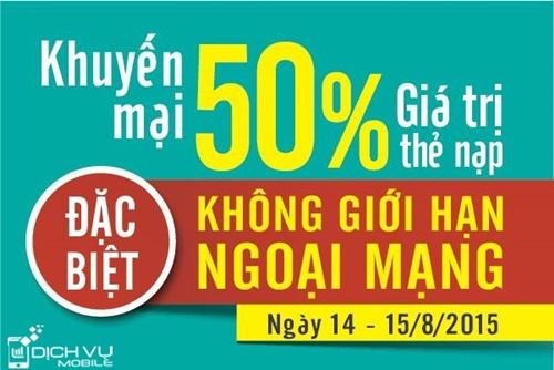 Khuyen mai Viettel tang 50 the nap 2 ngay 14-15-8-2015