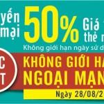 Khuyến mãi Viettel tặng 50% giá trị thẻ nạp ngày 28/8/2015