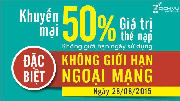 Khuyen mai Viettel tang 50 the nap ngay 28-8-2015
