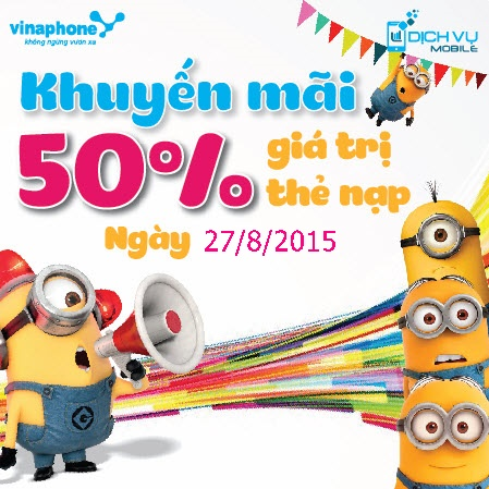 Khuyen mai Vinaphone tang 50 the nap ngay vang 27-8-2015