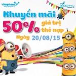 Khuyến mãi Vinaphone tặng 50% thẻ nạp ngày vàng 20/8/2015