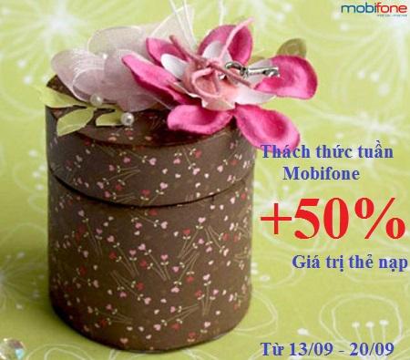 Khuyến mãi Mobifone 50% thách thức tuần từ 13 - 20/9/2015