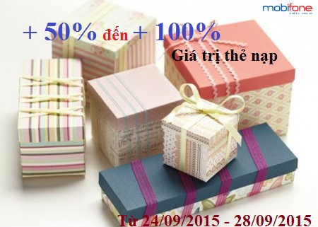 Khuyen mai Mobifone tang 50 den 100 the nap ngay 24-28-9-2015