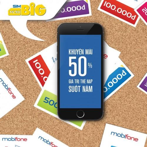 Khuyen mai Mobifone tang 50 the nap 1 nam voi sim Mobi big