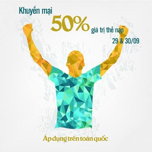 Khuyen mai Viettel tang 50 the nap ngay 29 va 30-9-2015