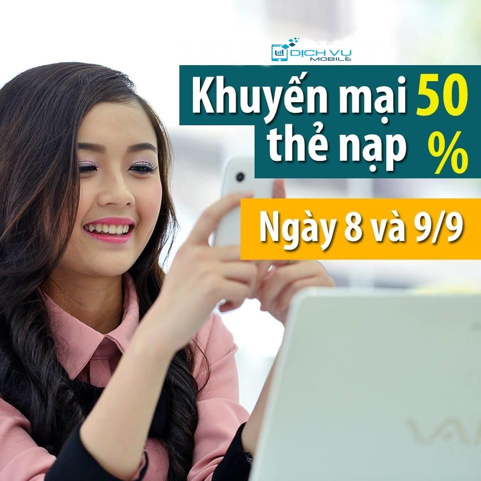 Khuyen mai Viettel tang 50 the nap ngay 8 va 9-9-2015
