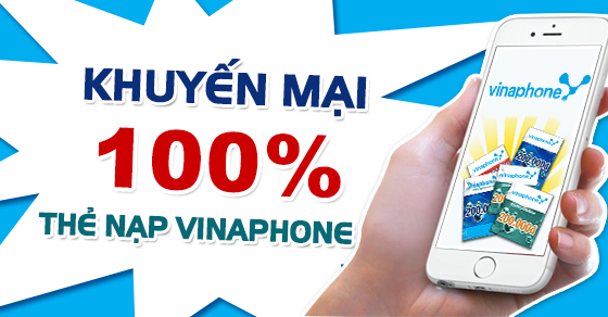 Khuyen mai Vinaphone tang 100 the nap ngay 25-9-2015
