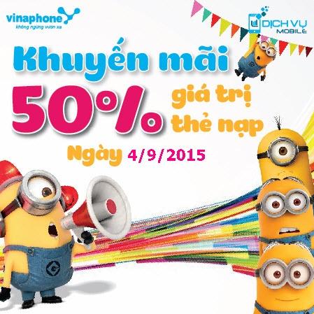 Khuyen mai Vinaphone tang 50 ngay vang 4-9-2015
