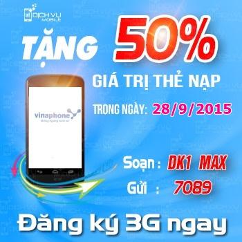 Khuyen mai Vinaphone tang 50 the nap ngay vang 28-9-2015