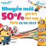 Khuyến mãi Vinaphone tặng 50% thẻ nạp ngày vàng 18/9/2015