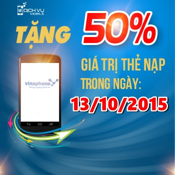 Khuyen mai 50 the nap Vinaphone ngay vang 13-10-2015