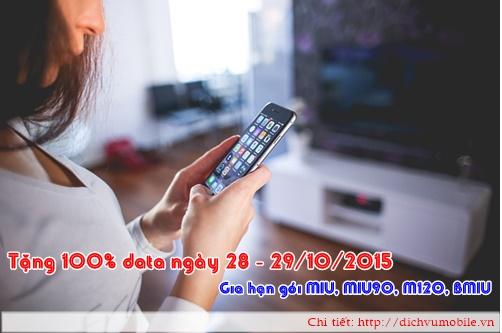 Khuyen mai Mobifone tang 100 data ngay 28 - 29-10-2015