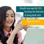 Khuyến mãi Viettel tặng 50% thẻ nạp ngày 8/10 – 9/10/2015