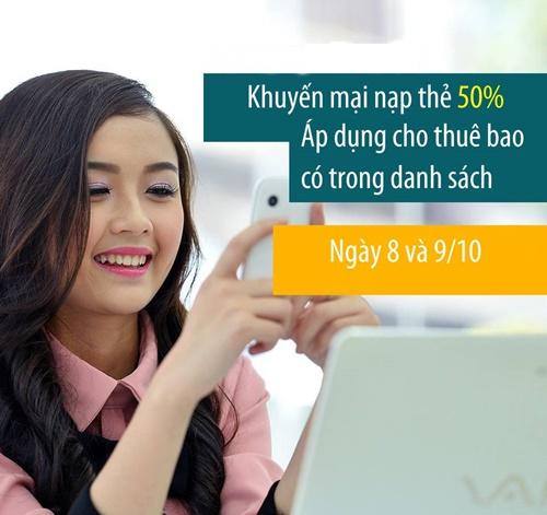 Khuyen mai Viettel tang 50 the nap ngay 8 va 9-10-2015