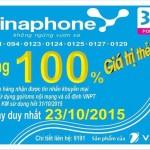 Khuyến mãi Vinaphone tặng 100% thẻ nạp ngày 23/10/2015