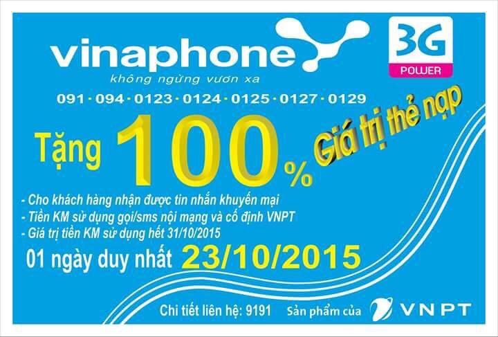 Khuyen mai Vinaphone tang 100 the nap 23-10-2015