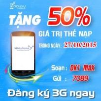 Khuyen mai Vinaphone tang 50 the nap ngay vang 27-10-2015