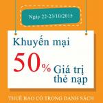 Viettel khuyến mãi tặng 50% thẻ nạp ngày 22 và 23/10/2015