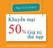 Khuyen mai nap the Viettel ngay 22 va 23-10-2015