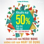 Khuyến mãi Viettel tặng 50% thẻ nạp ngày 16 đến 17/10/2015