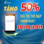 Vinaphone khuyến mãi tặng 50% thẻ nạp ngày vàng 20/10/2015