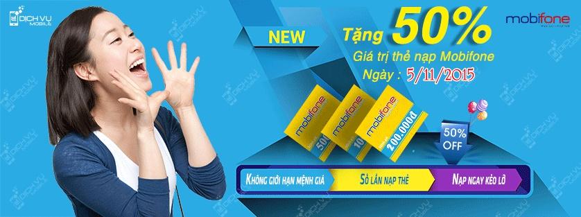Khuyen mai Mobifone tang 50 the nap ngay 5-11-2015