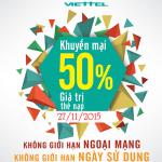 Viettel khuyến mãi tặng 50% thẻ nạp ngày 27/11/2015
