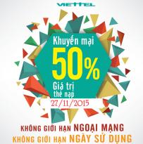 Khuyen mai Viettel tang 50 the nap ngay 27-11-2015