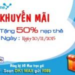 Khuyến mãi nạp thẻ Vinaphone tặng 50% ngày vàng 20/11/2015