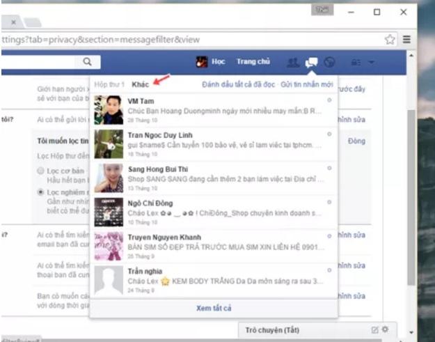 Chặn tin nhắn rao bán trên Facebook 5