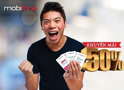 Mobifone khuyến mãi 50% giá trị thẻ nạp ngày 3/12/2015 1