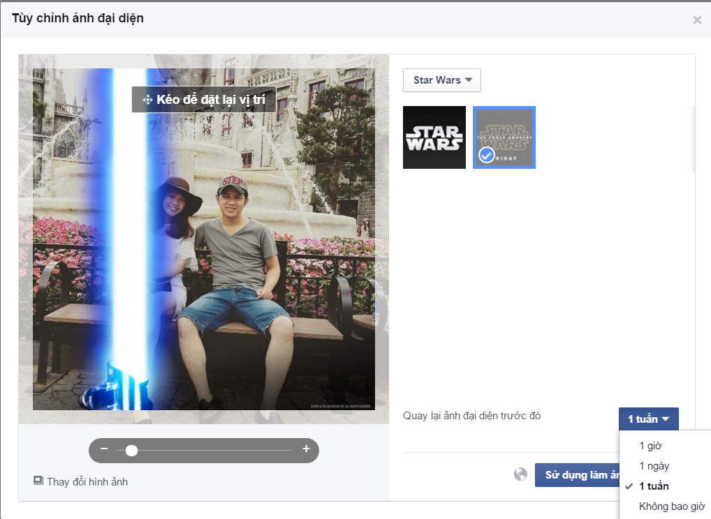 Cach tao hieu ung tia sang star wars cho Avatar Facebook 2