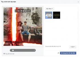 Cach tao hieu ung tia sang star wars cho Avatar Facebook