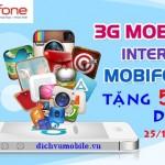 Mobifone khuyến mãi tặng 50% data 3G ngày 25/12/2015